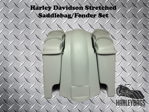 "Harley Davidson Softail 6"" Stretched Saddlebags & Fender - 2x Dual Speaker Lids"