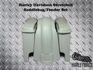 "Harley Davidson Softail 6"" Stretched Saddlebags and Fender - Speaker Cut Lids"