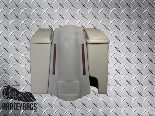 Harley Davidson Softail Extended Stretched Saddlebags with Fender 2-in-1 Pipe