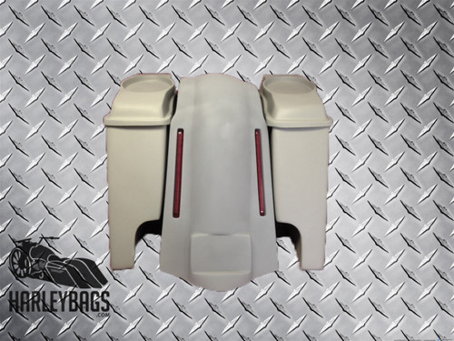 "Harley Davidson Softail Stretched Saddlebags with LED Fender 6""x9"" Speaker Lids"