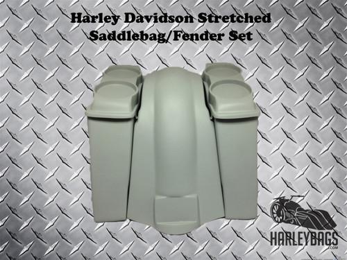 "Harley FL Softail 6"" Stretched Saddlebags Double 6.5"" Speaker Lids & Fender"
