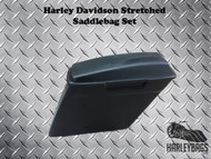 """Harley Softail Fatboy 6"""" Stretched Fiberglass Saddlebags - 2-in-1 Right Cut Out"""