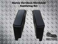 Harley Davidson Stretched Saddlebags, Lids - Dual Cut Outs- Heritage Softail Deluxe Fat Boy