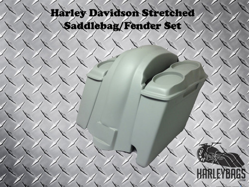 "Softail 4"" Stretched Double Speaker Saddlebags & Fender Right Side 2-in-1 Cut Out"