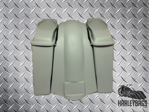 """Softail Harley 4"""" Stretched Saddlebags with 6x9 Speaker Lids & Fender NO CUTOUTS"""