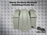 "Softail Harley 4"" Stretched Saddlebags with Speaker Lids + Fender 2-in-1 Exhaust"