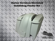 "Softail Harley 6"" Stretched Saddlebags 6x9 Speaker Lids + Fender 2-in-1 Exhaust"