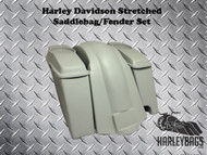 "Softail Harley 6"" Stretched Saddlebags with Speaker Lids + Fender 2-in-1 Exhaust"