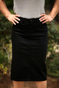 Black Waxed Denim Skirt