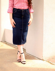 Indigo Waves Premium Denim Skirt - SAMPLE - Medium