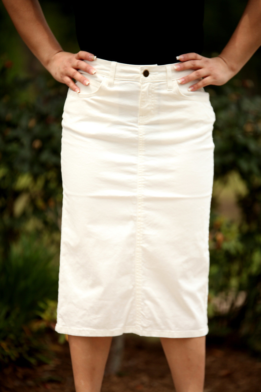 90ae9bd0c7427 Colored Denim Skirt - White- 1X and 3X - Beautiful One Modest Apparel
