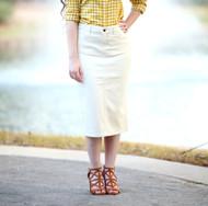 Colored Denim Skirt - Off White