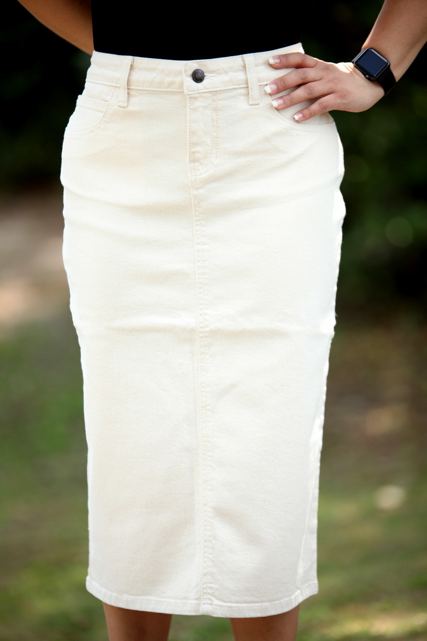 59b3d740eedfd Colored Denim Skirt - Off White - Beautiful One Modest Apparel