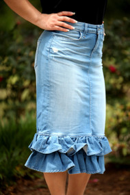 Juliana Ruffle Denim Skirt - Light Wash