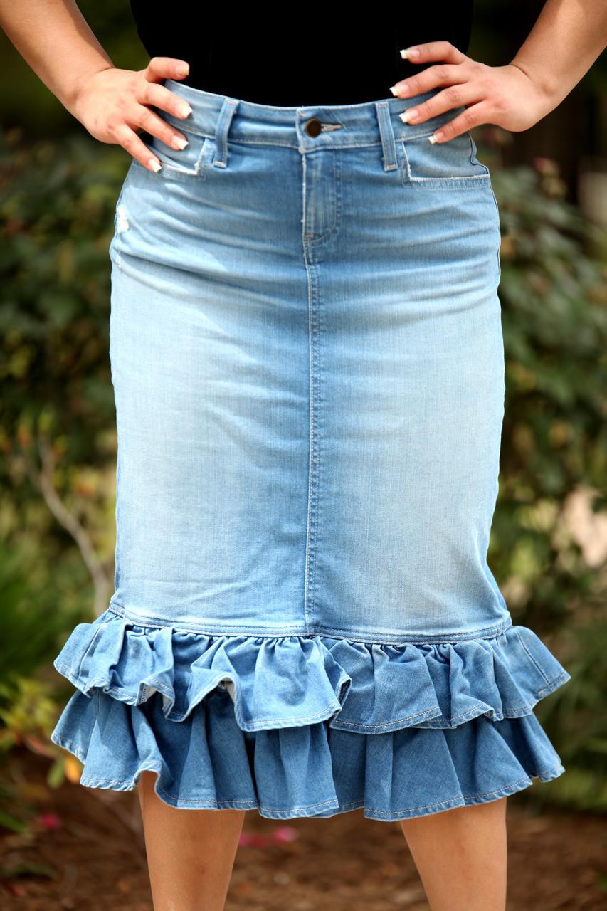 100% authentic 2019 hot sale newest style Juliana Ruffle Denim Skirt - Light Wash