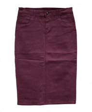 Plum Waxed Premium Denim Skirt