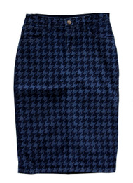 Houndstooth Premium Denim Skirt - SAMPLE - SMALL