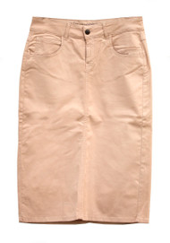 Waxed Champagne Denim Skirt - SAMPLE - MEDIUM