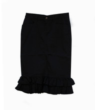 Julia Ruffle Skirt Coated Black - SAMPLE - LARGE
