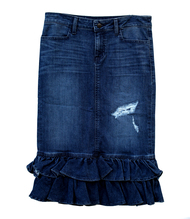 Julia Premium Ruffle Distressed Denim Skirt