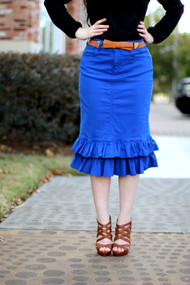 Ruffle Premium Denim Quality Skirt - Royal BLue - SAMPLE - XS,  Medium and Large