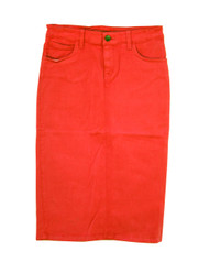 Premium Colored Denim Skirt - Bright Orange - SAMPLE - XS