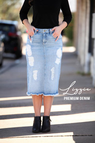 Lizzy Premium Denim Skirt Raw Hem (patched) - Light Wash - Ships Early December