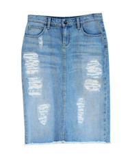 Lizzy Premium Denim Skirt (patched) - Light Wash