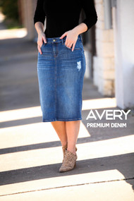 Avery Premium Denim Skirt - Ships Early December