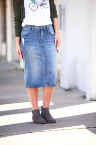 Ashley Premium Denim Skirt IN STOCK