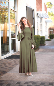 Sophia Ruffle Dress - OLIVE