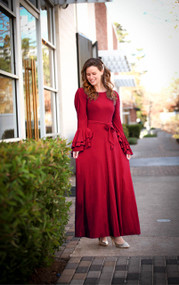 Sophia Ruffle Dress - Deep Wine