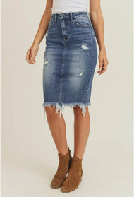 Dark Wash Frayed Hem Denim Skirt