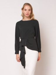 Front Pleated Long Sleeve Blouse - Hunter Green