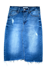Medium Wash Raw Hem Denim Skirt