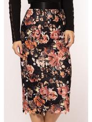 Roses Lace Applique Pencil Skirt