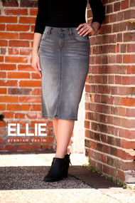 Ellie Premium Denim Skirt - Worn Grey - Ships Early December