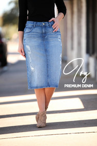 Ivy Distressed Premium Denim Skirt