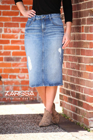 Zarissa Distressed Premium Denim Skirt  - Ships Early December