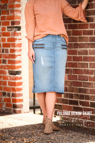 Paloma Distressed Zipper Skirt  - Ships Early December