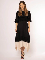 Lace Detailed Asymmetrical Pleated Skirt