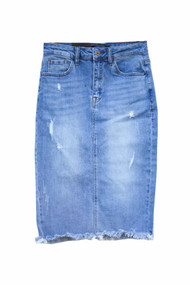 Medium Wash Frayed Hem Denim Skirt