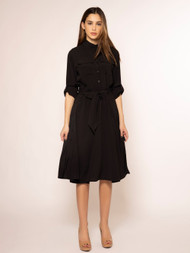 Side Button Long Sleeve Dress