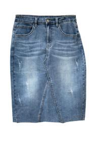 Kennedy Premium Denim Skirt Raw Hem - SHIPS IN JULY