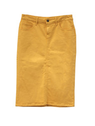 Color Denim Skirt - Vibrant Mustard