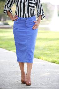 Colored Denim Skirt - Cerulean Blue - SMALL