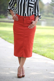 Colored Denim Skirt - Red Orange - SAMPLE - SMALL