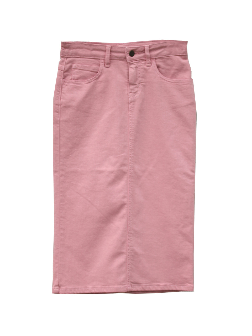 79356364b3 Colored Denim Skirt - Rose Pink - Beautiful One Modest Apparel