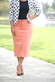 Colored Denim Skirt - Peach Bud
