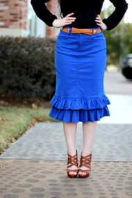 Julia Ruffle Skirt - Royal - SAMPLE - XS and XL